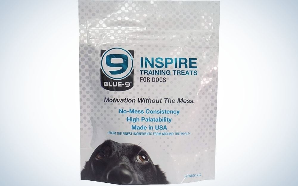 A white bag containing some of the best dog training treats.