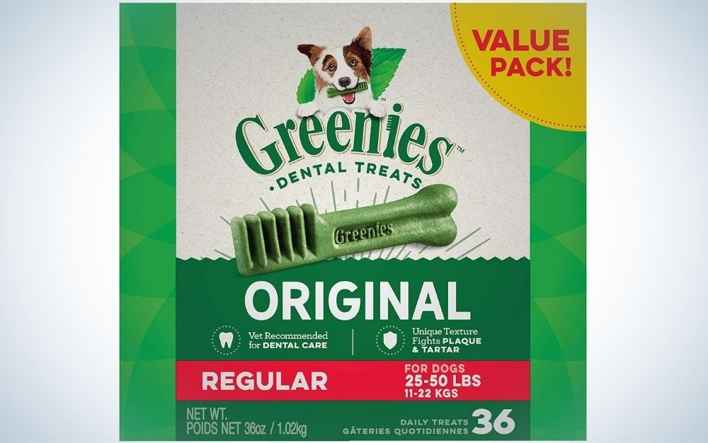 A box of chewy dog treats that are good for your canine's oral hygiene.