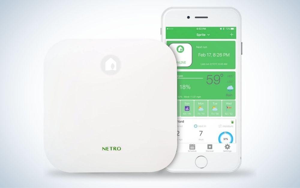 White Netro smart sprinkler controller with WiFi