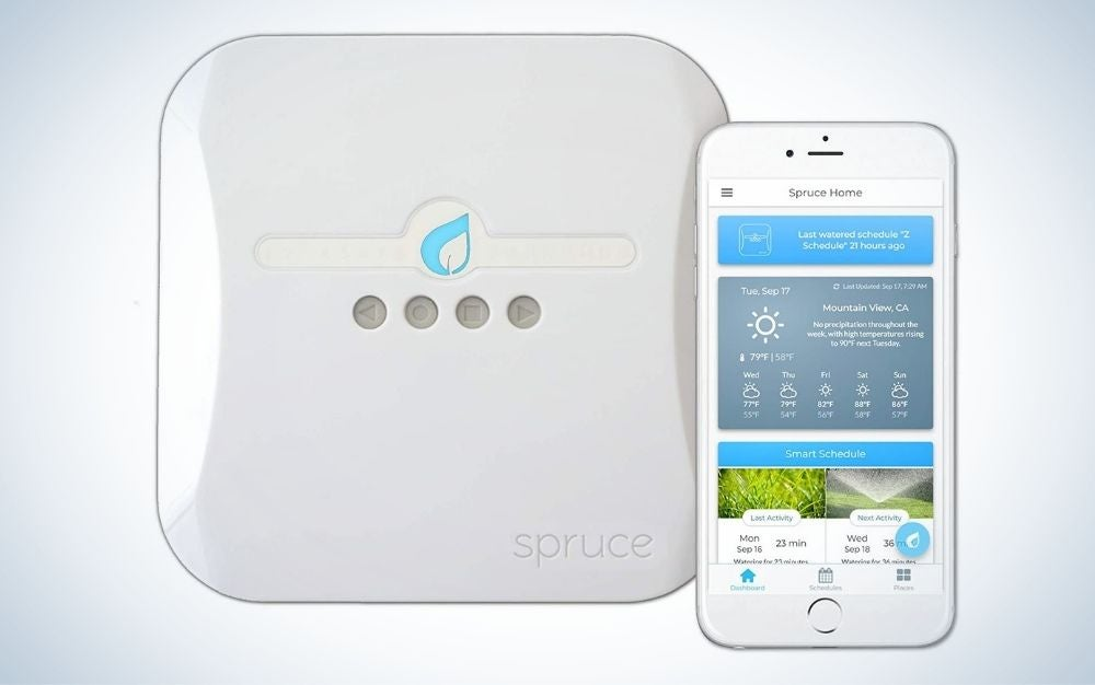 White Spruce smart sprinkler controller automated with apps on the phone