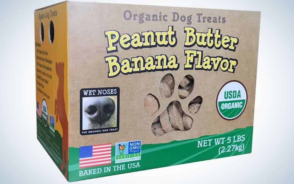 Banana and peanut butter dog treats in a brown box.