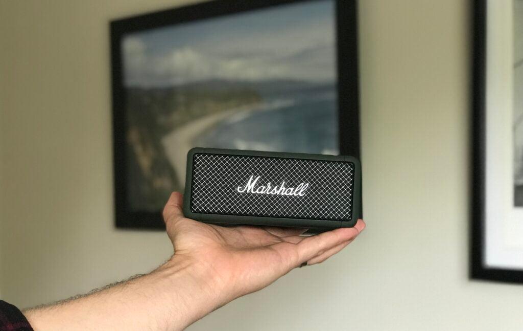 Black Marshall Emberton portable Bluetooth speaker