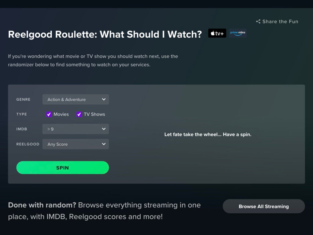 The user interface for Reelgood, showing the options for spinning a wheel to watch a random episode or movie.