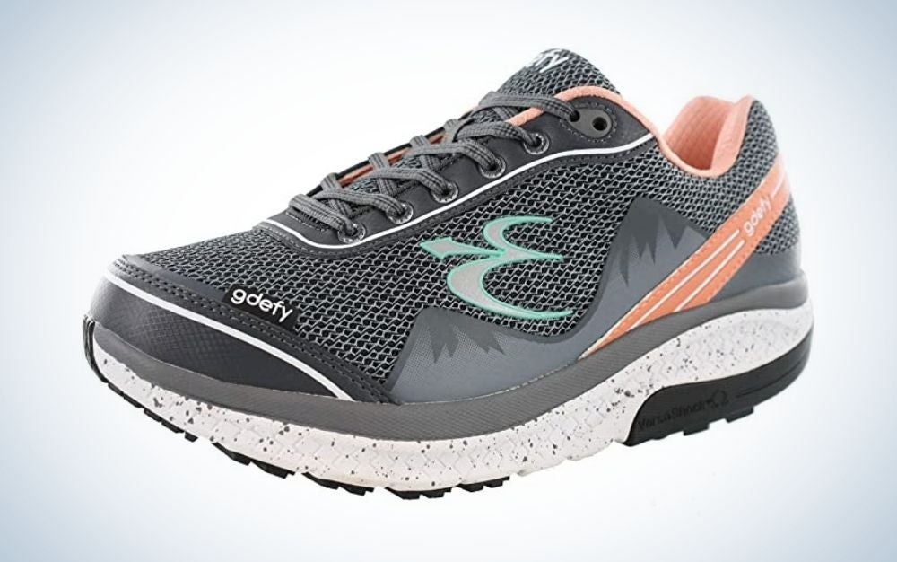 Gray and pink walking shoes for women
