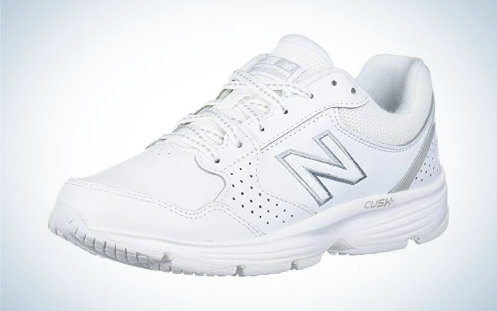 White, rubber sole New Balance walking shoes for women