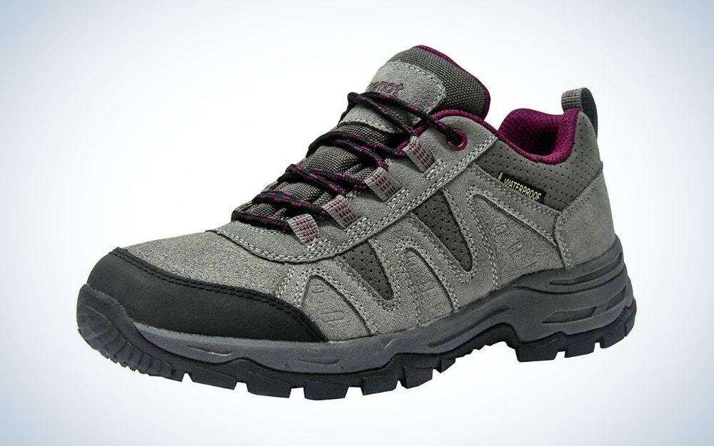 Grey wine, waterproof walking and hiking shoes for women