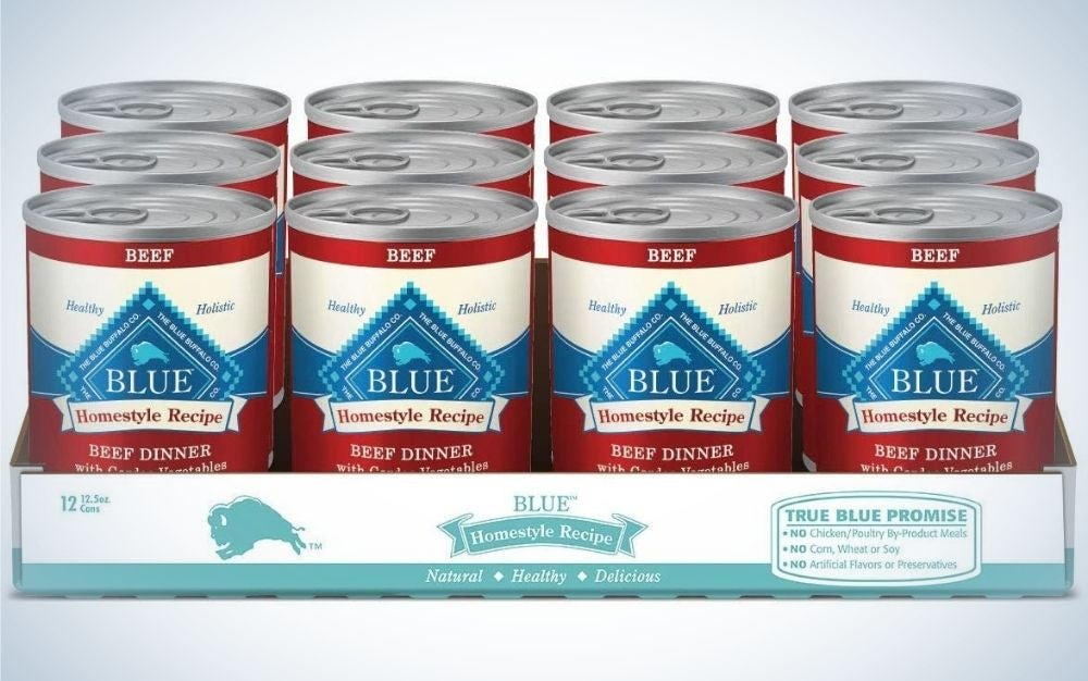 A 12 pack of cans of Blue Buffalo homestyle wet dog food