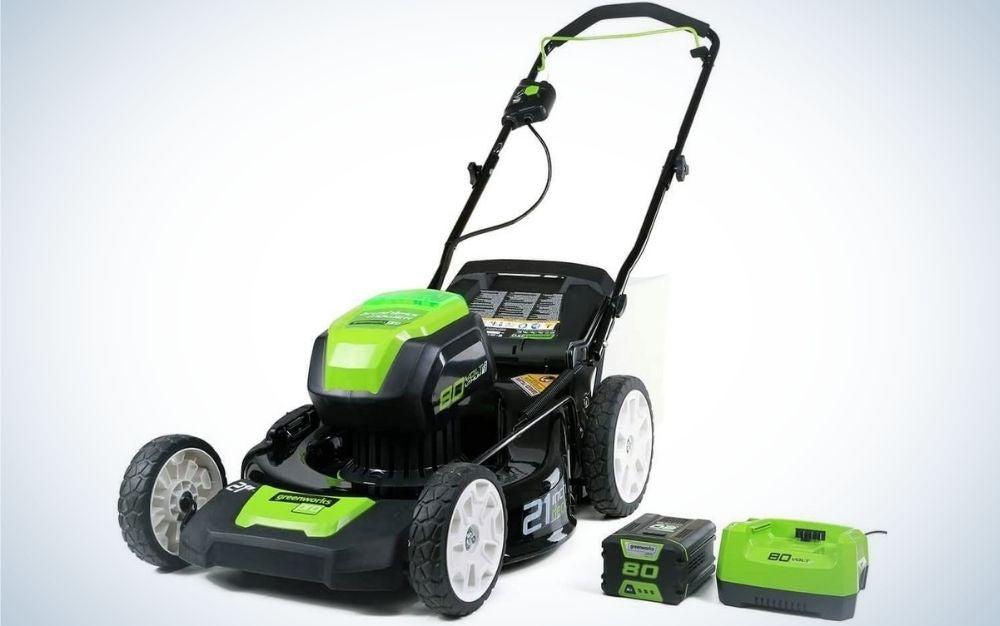 Black and green Greenworks mower