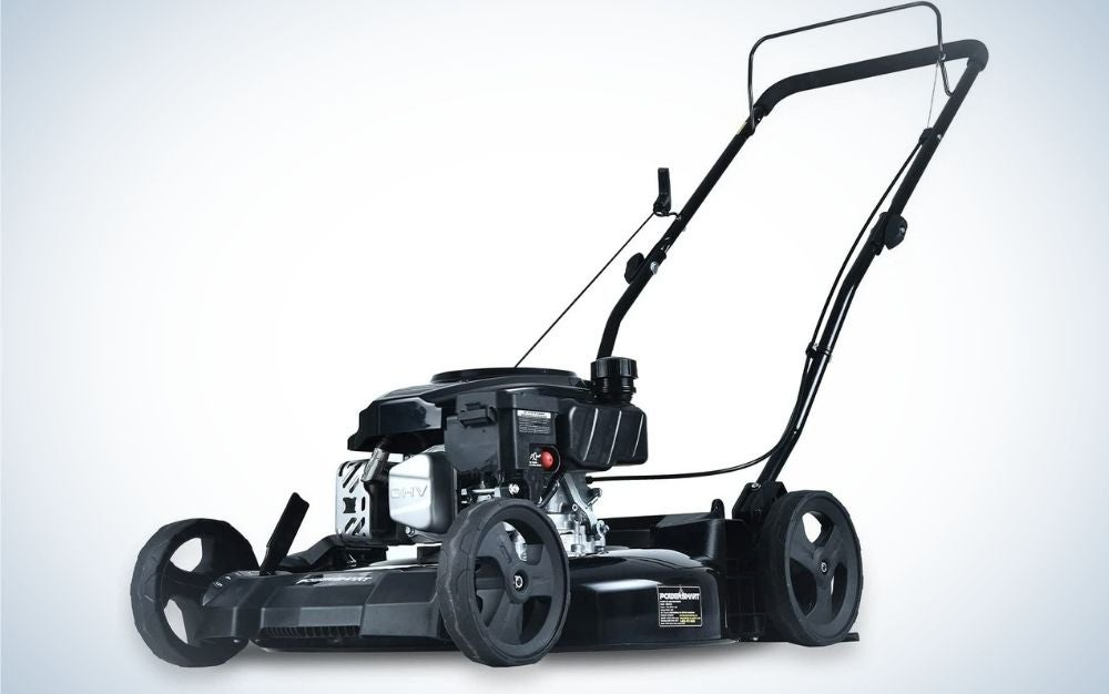 A all-black lawn mower and solid black front end with only a door handle and four wheels.