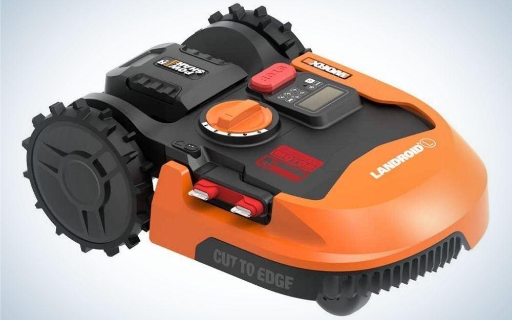 A black and orange WORX lawn mower