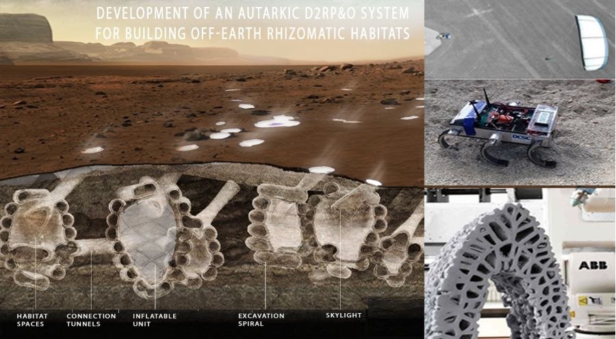 A proposed underground habitat on Mars.