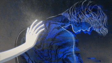 an illustration of a sad blue person with a glowing white hand reaching out to comfort them