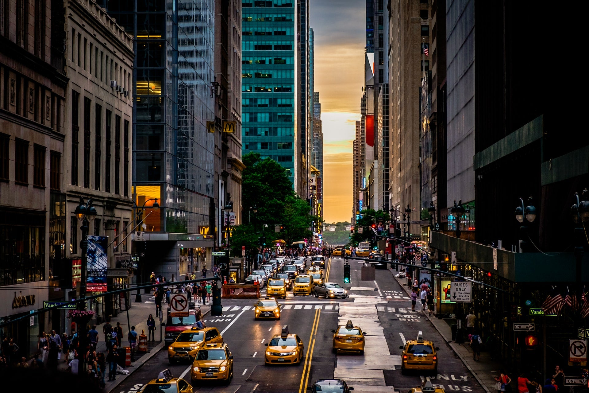 Taxis and cars driving down a New York City street
