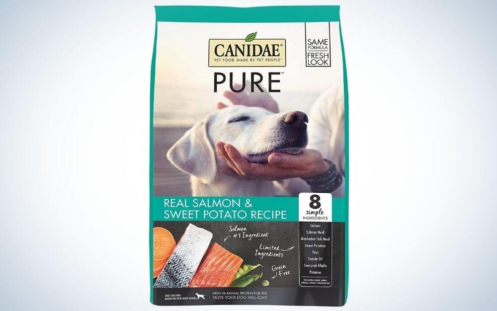 Salmon and sweet potato flavored, grain free dry dog food