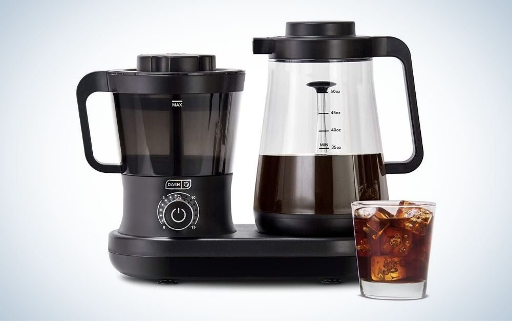 Black, plastic cold brew coffee maker with easy pour spout and carafe pitcher