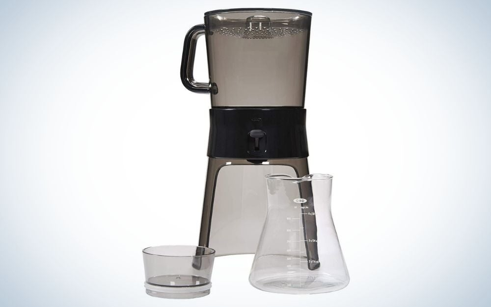 Black plastic and glass cold brew coffee maker