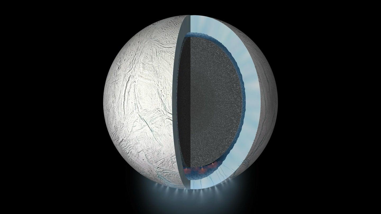 An artist's rendering of Saturn's moon Enceladus