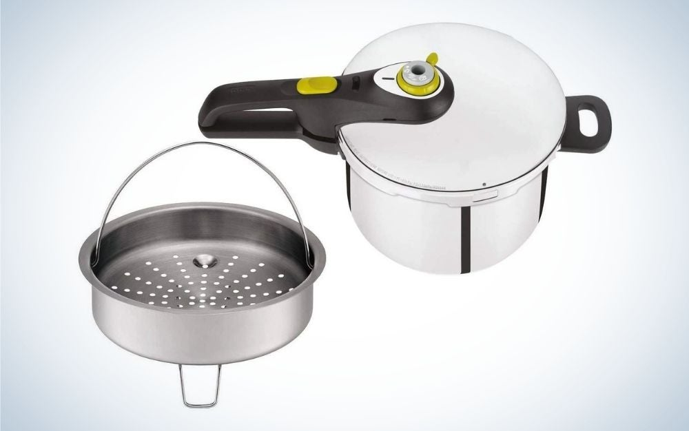 Silver stainless steel pressure cooker