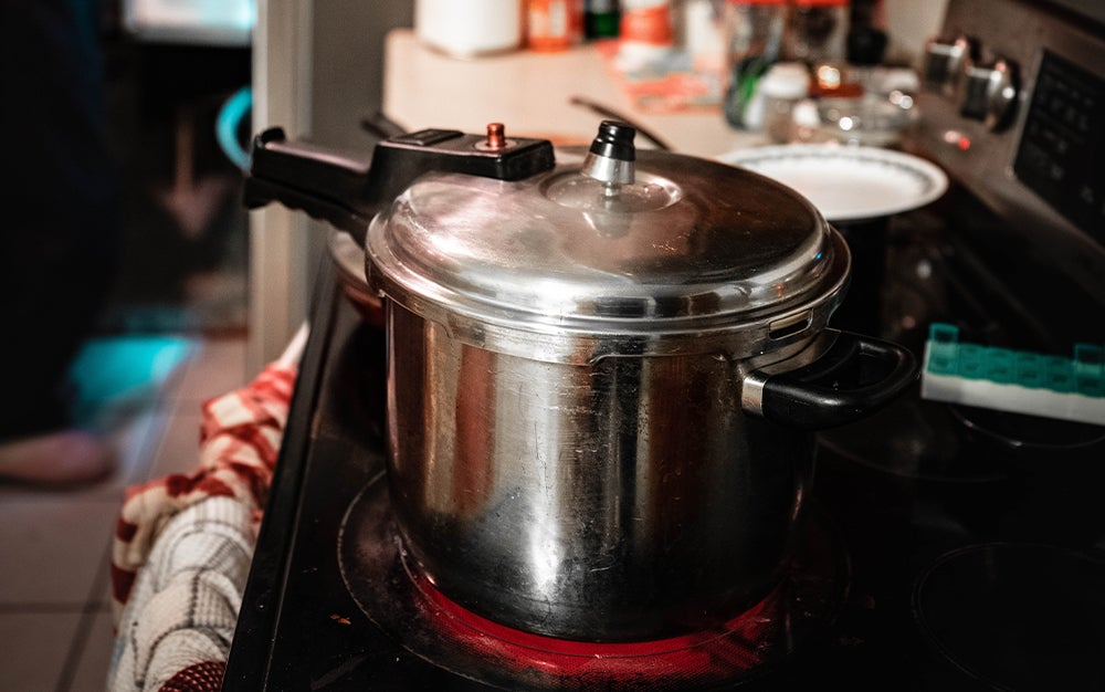 pressure cooker on a stove
