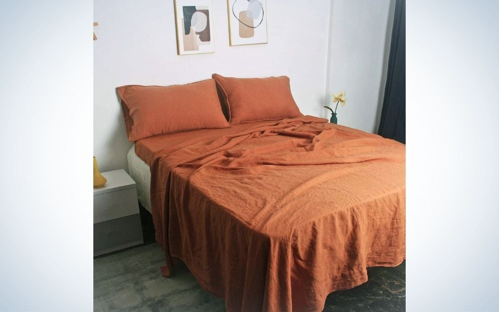 The S Victory Symbol Stone Washed Sheet Set contains the softest linen sheets.