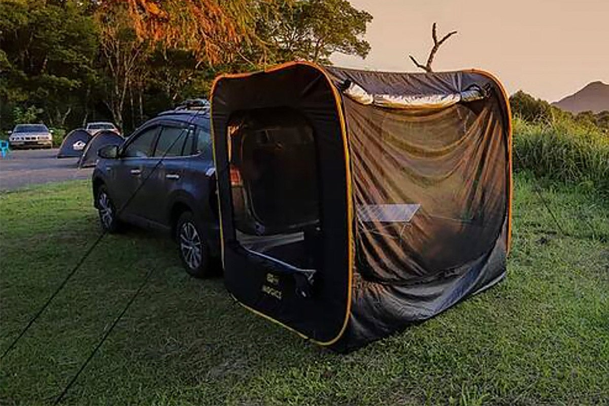Tent hooked up to car