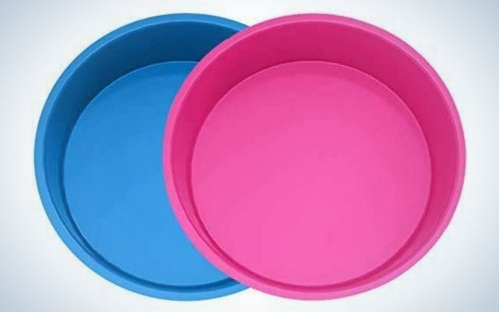 Two round cups in different colors, one blue and the other pink.