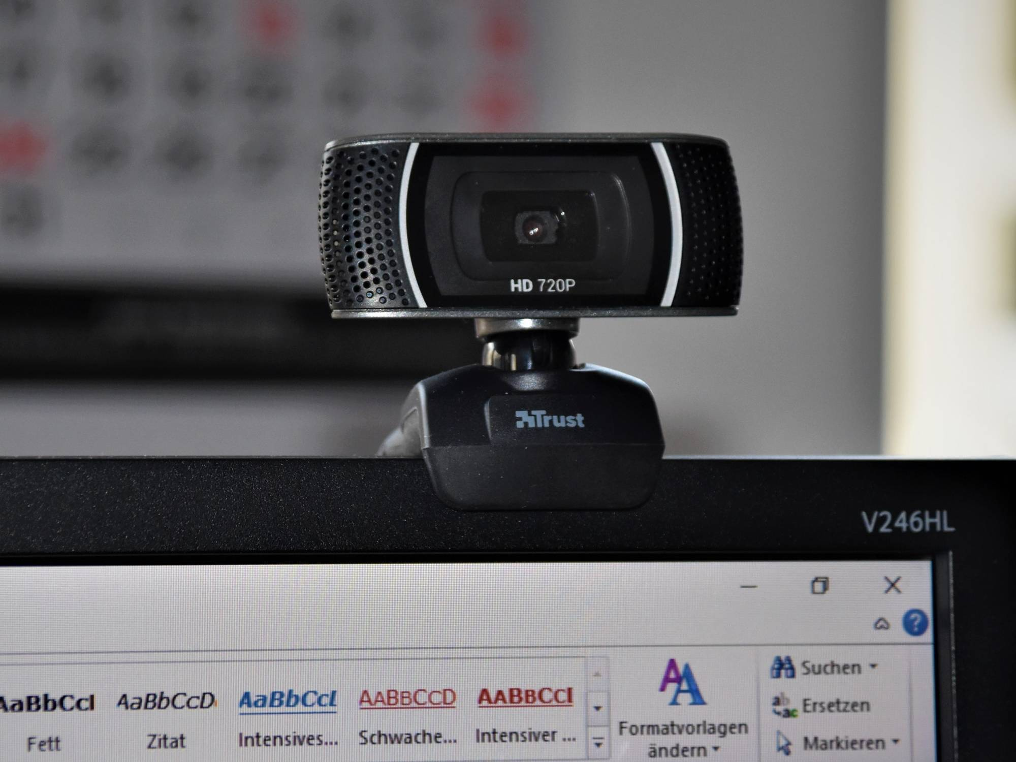 Webcam clipped on to a computer monitor