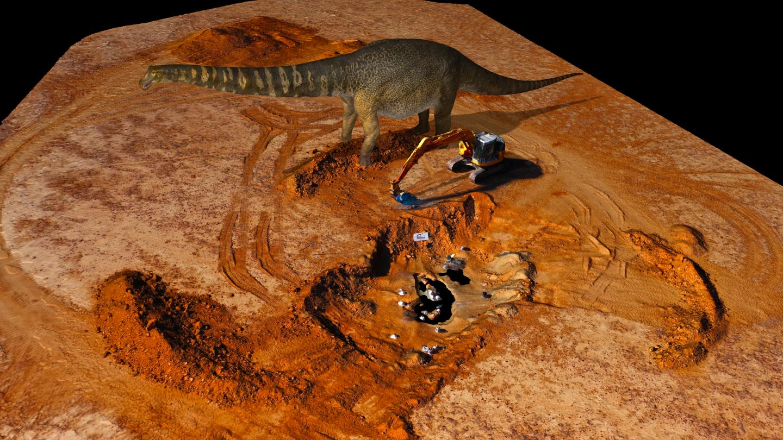 Australotitan dinosaur compared to an excavator (c)Eroman Museum