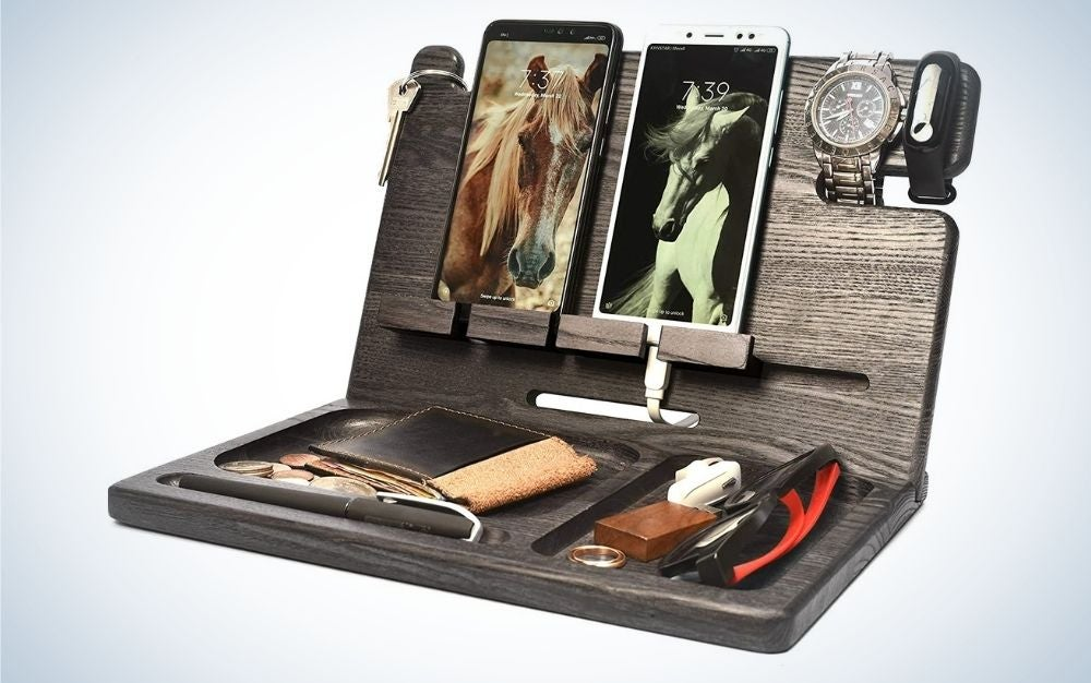 The BarvA Wood Docking Station Tray is the best Father's Day gift for organizing.