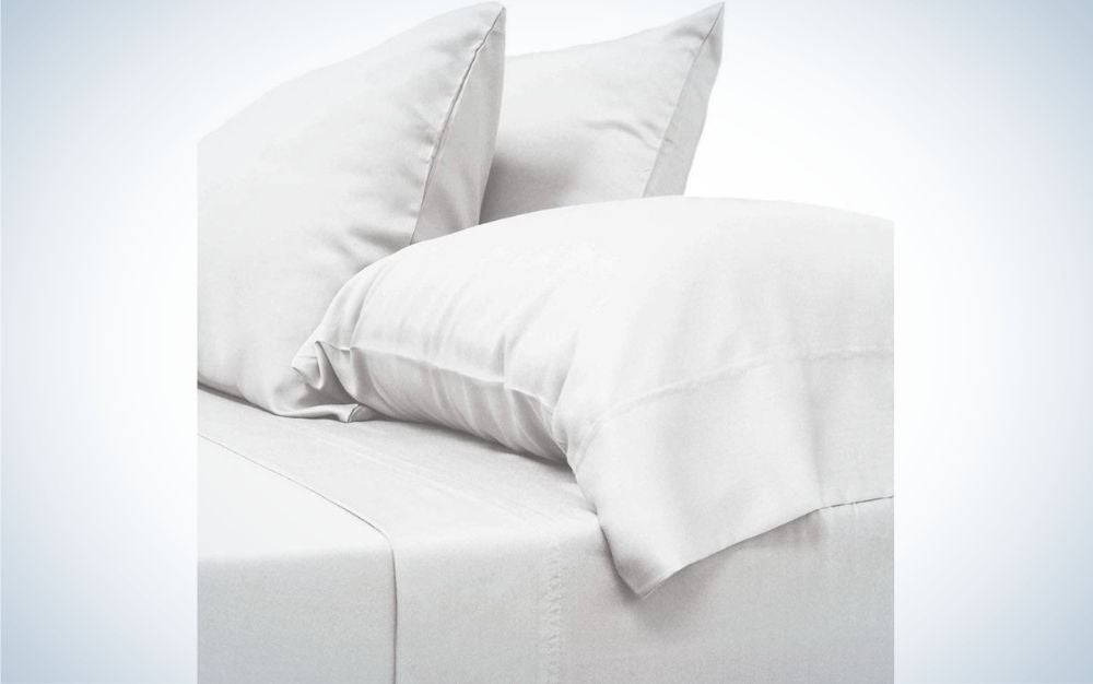 White bamboo sheet set with pillow cases, gift for father's day