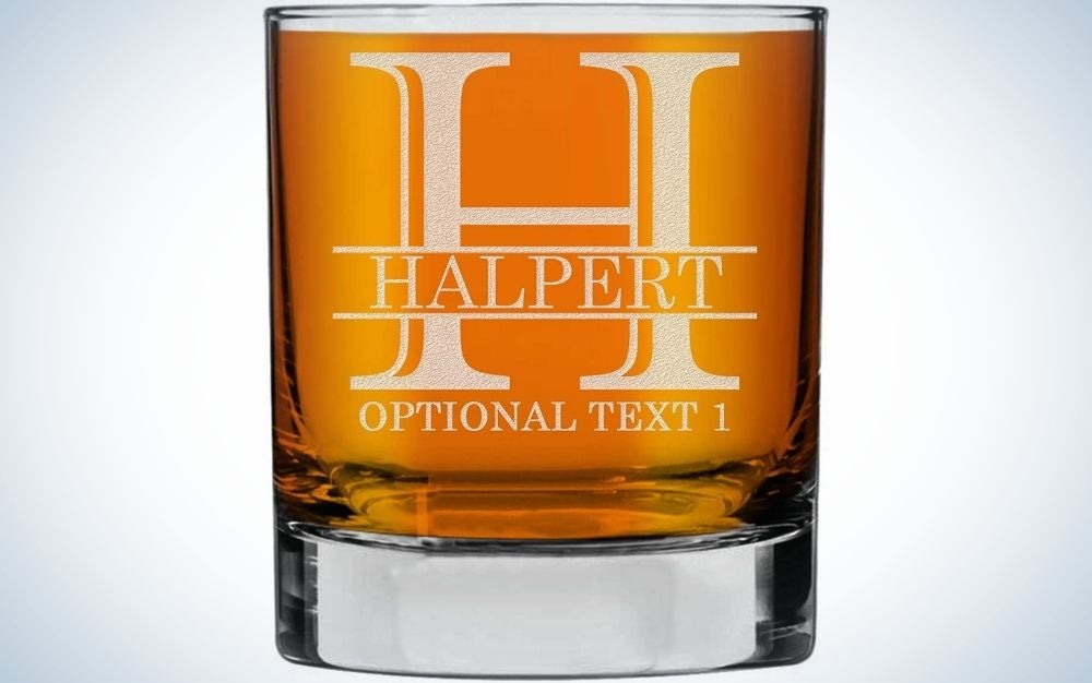 This Custom Whiskey Glass from Spotted Dog Company is a fun option for personalized Father's Day gifts.