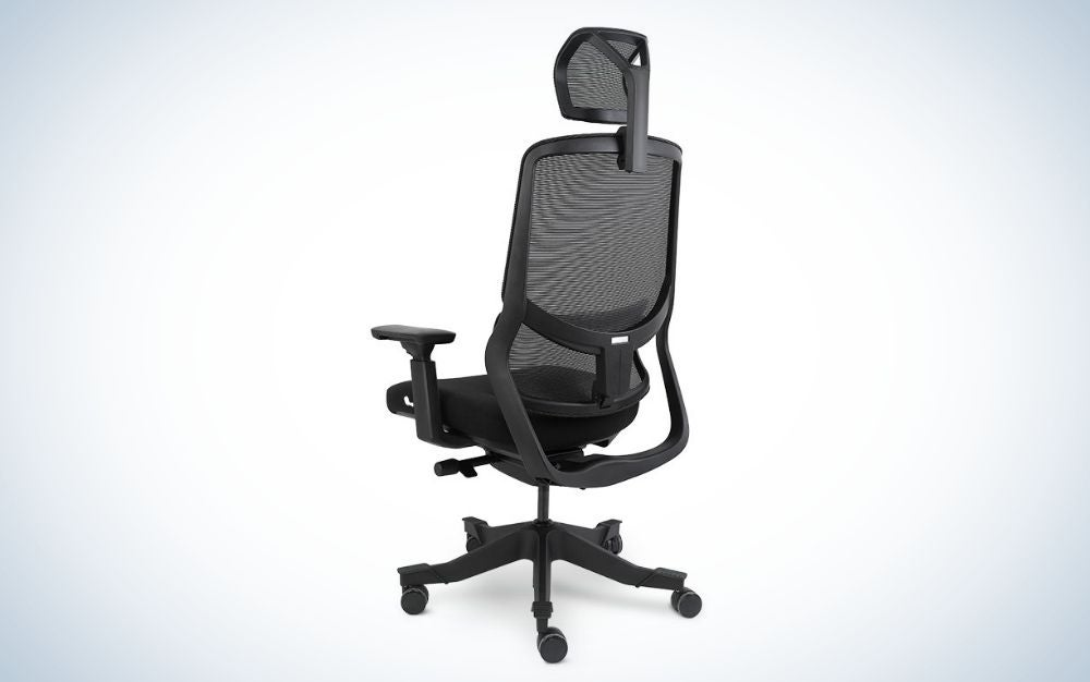 Black ergonomic office chair with wheels, unique gift for father's day