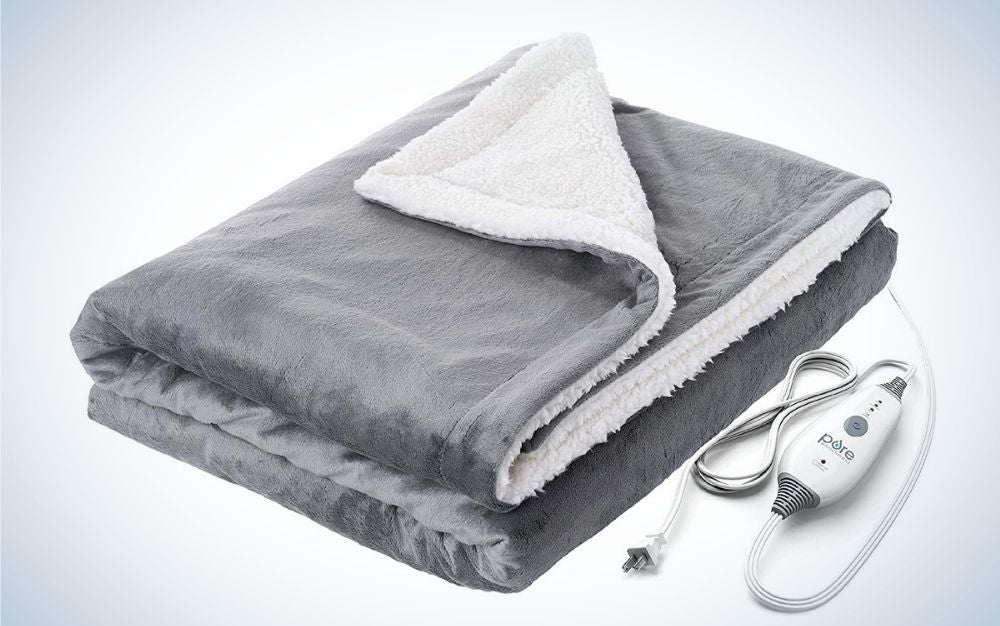 Gray and white electric weighted throw blanket father's day gift