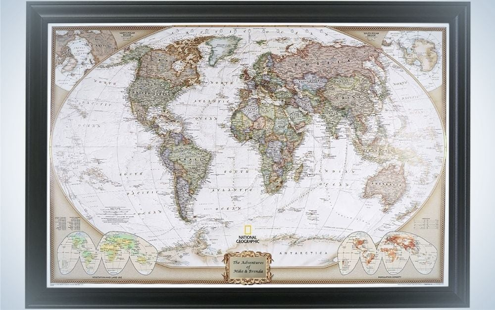 Push-Pin Travel Maps are one of the great personalized Father's Day gifts for world travelers.
