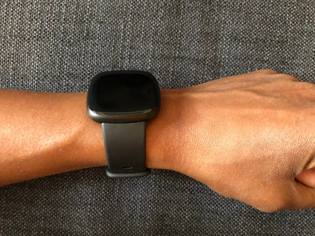 The Fitbit Versa 3 black infinity with black band