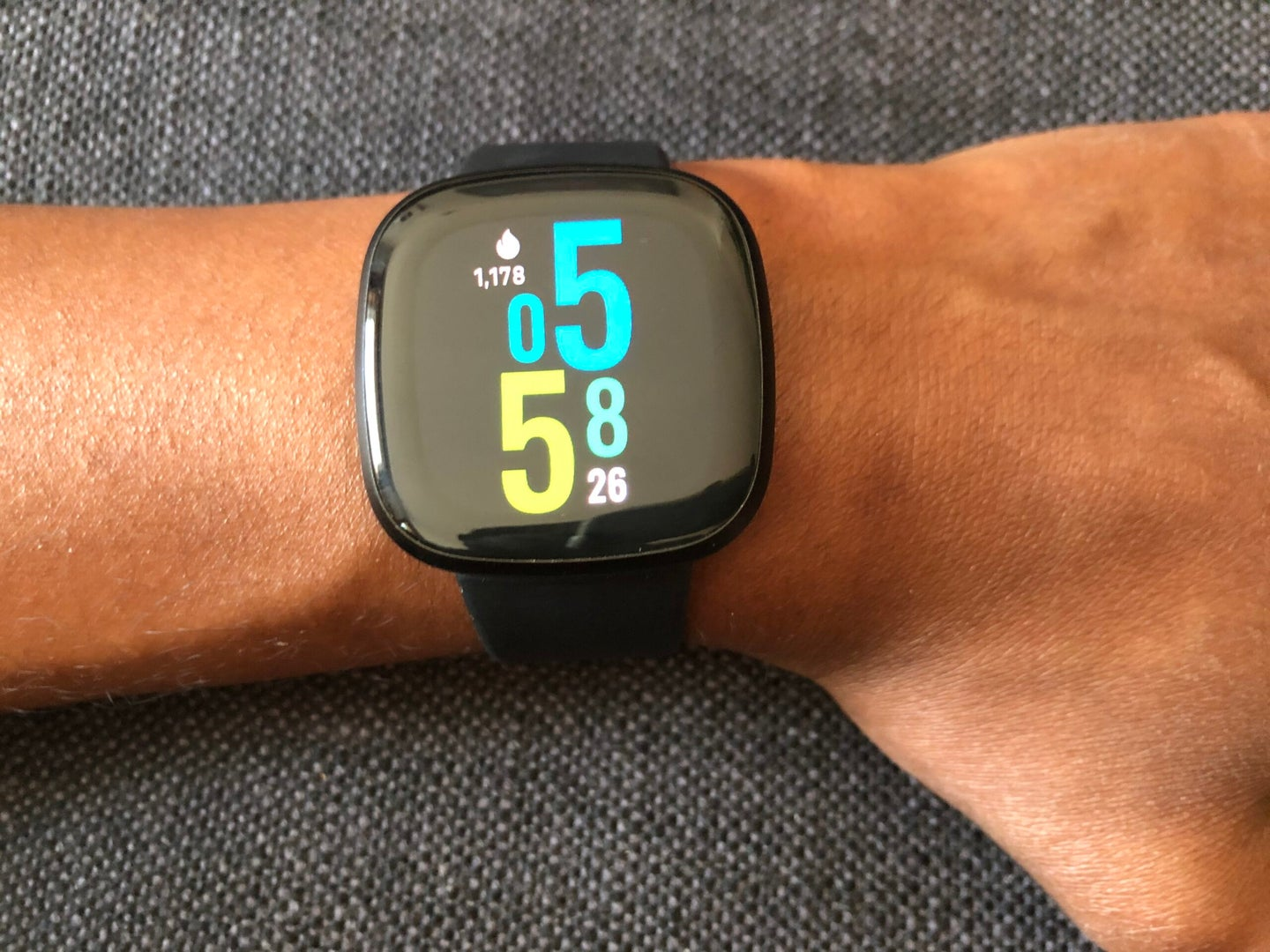 The Fitbit Versa 3 colorful always-on display