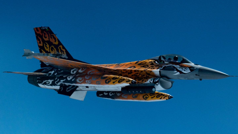 Portuguese F-16 fighter plane with orange tiger design