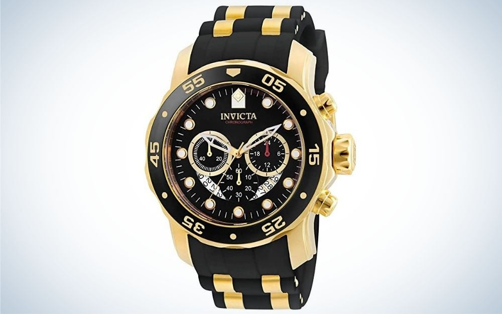 Gold tone stainless steel quartz watch with black silicone strap , gift for father's day