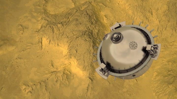 A mockup of the DAVINCI+ which will release a metal probe to fall through Venus's atmosphere and measure its makeup.