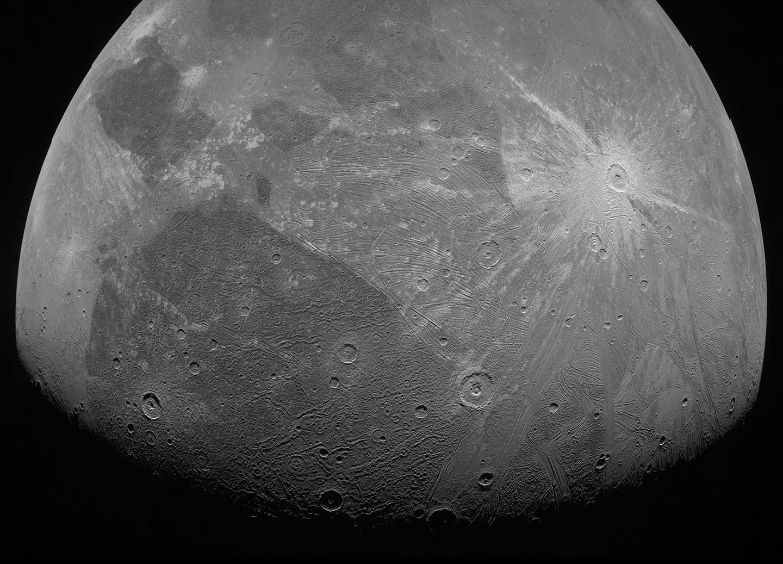 A close-up of Jupiter's moon Ganymede.