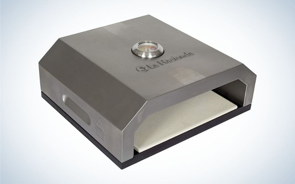 Stainless steel pizza oven with carry handles and removable stone base