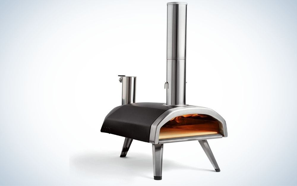 Black and silver, carbon steel, outdoor pizza oven with wood fired