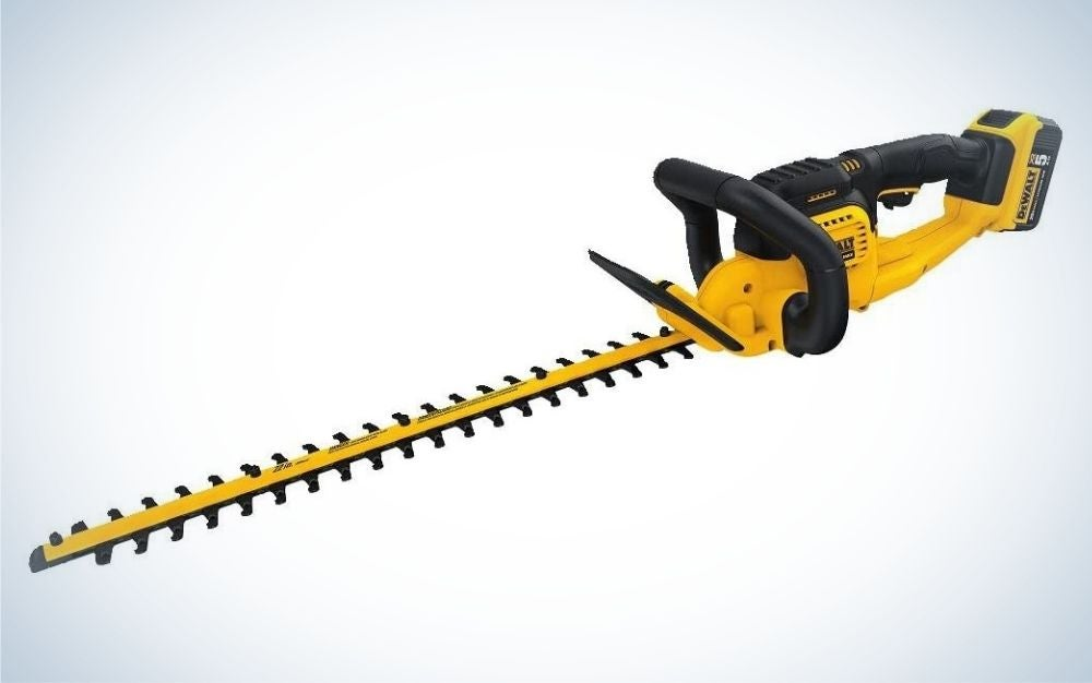 This Black and yellow, cordless, battery powered hedge trimmer is the best hedge trimmer