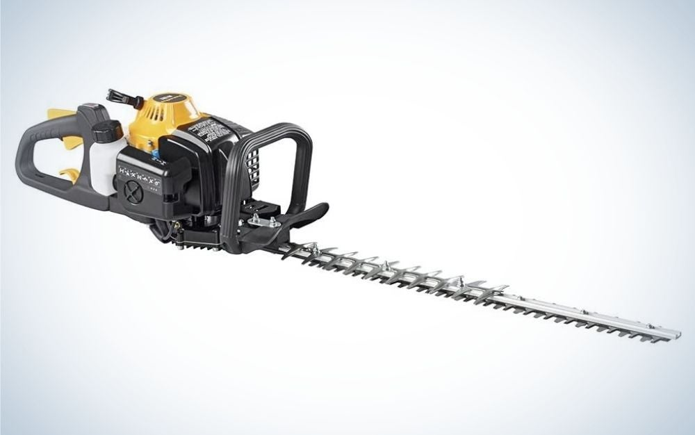 Black and yellow gas powered dual sided trimmer is the best hedge trimmer