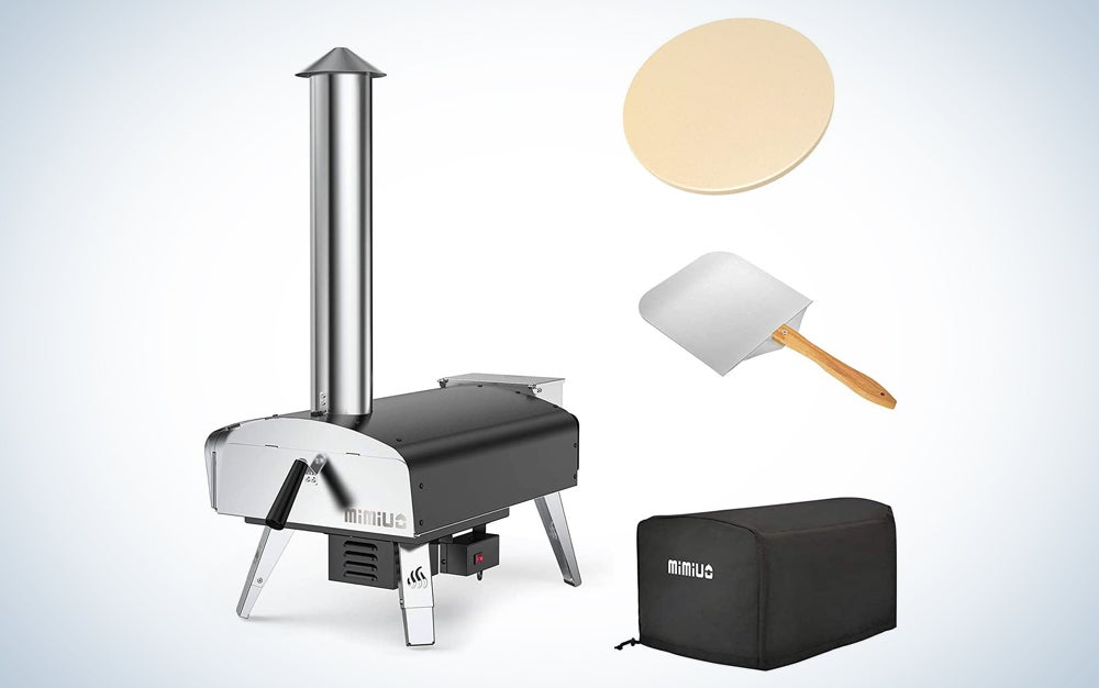 One of the best silver pizza ovens with a high stack, as well as a pizza peel, pizza stone, and carrying bag.