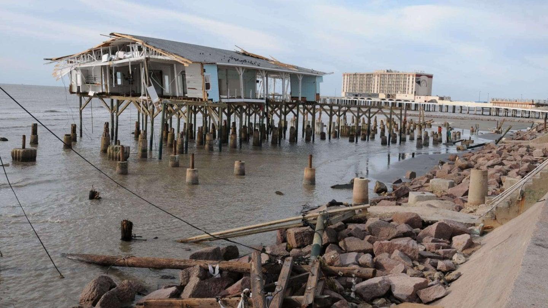 A flooded Galveston pier