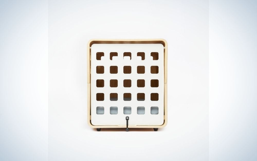 A square box in front and with some space being square in it.