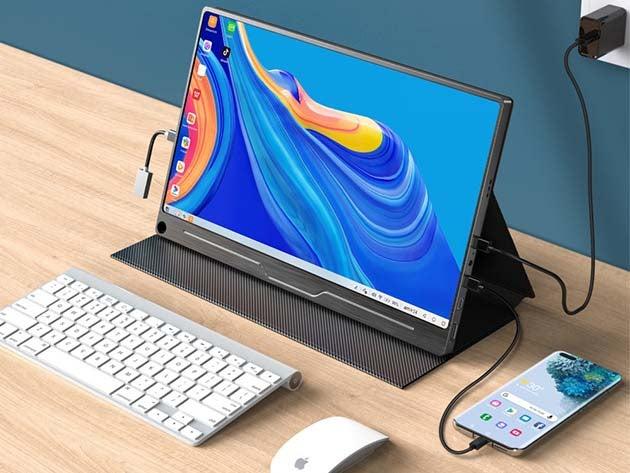 Laptop set up on desk