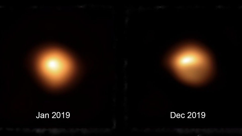A side by side comparison of the star Betelgeuse in January and December of 2019. The star is was dimmer in December 2019.