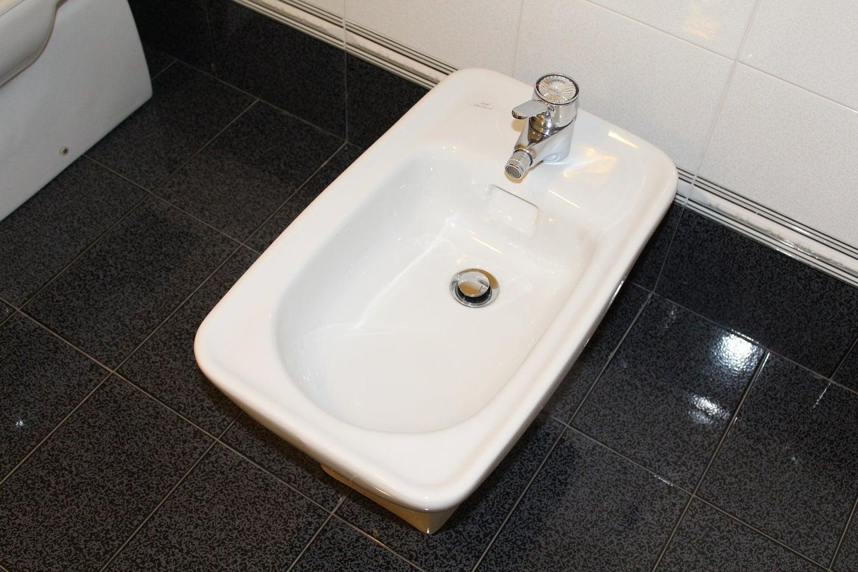 Bidet in a bathroom with a black tile floor